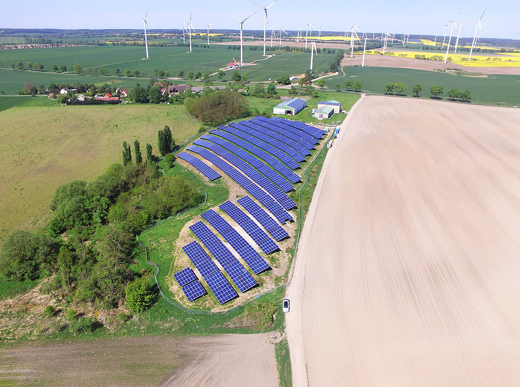 [Translate to Englisch:] The picture shows the PV power plant Marienberg.