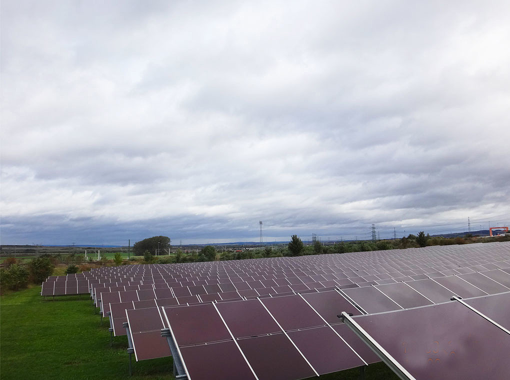 The picture shows the solarpark with thin film modules.